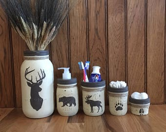 deer moose bear mason jar bathroom setwoodland rustic bathroom
