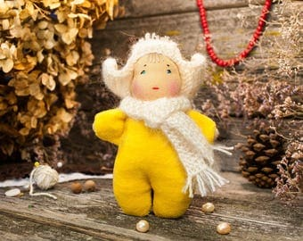 Waldorf doll, wool felted toy, eco friendly toy, Pretend Play, little doll waldorf, waldorf party favor, natural fiber doll, handmade doll,