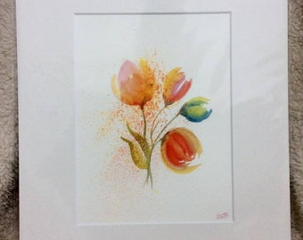 "Beautiful tulips 12"" x 10"" Original watercolour painting"