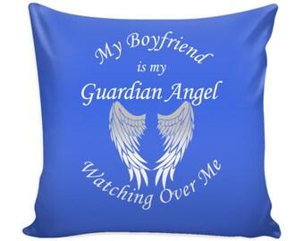 Memorial Pillow Cover - Boyfriend Guardian Angel - Pillow Case - Loss of Boyfriend