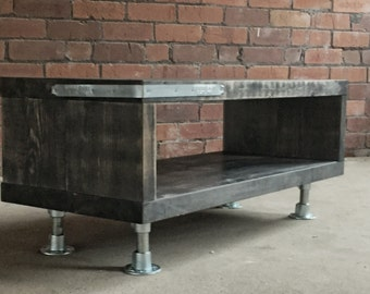 Eco Industrial coffee table / tv stand - reclaimed wood scaffold steel pipes vintage industrial