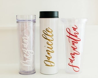 Custom Calligraphy Tumbler with First Name