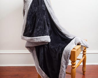 Black gray Blanket, Black Gray, Black Blanket, Throw Blanket, Grey Blanket, Blanket, Chunky Blanket, Gift For Him