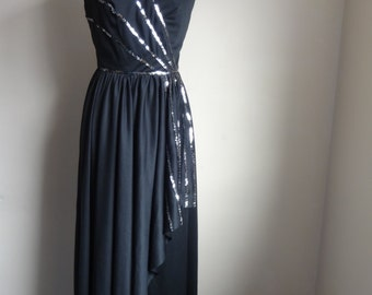 Ronald Joyce 70's dress. Black and silver sequins. Flattering fit, Uk 8-10
