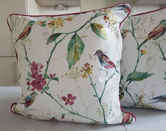 45cm Piped Cushion Cover in Prestigious Textiles Birdsong fabric with contrasting piping.