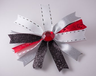 Red and Black hair bow