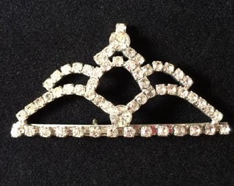 Stunning Vintage 1960's Silver tone Tiara Brooch featuring Clear Rhinestones