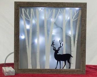 Deer In Forrest Lighted 9 x 9 Shadow Box, Christmas Decoration, Christmas Art, Buck, Winter, Home Decor, Illuminated