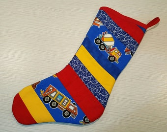 SALE! Save 30% -  Quilted Christmas Stocking - Primary Colours Trucks 2