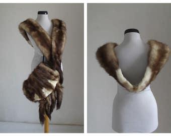 Vintage Mink Fur Stole  Wrap &Muff Set/ Real Mink Fur Collar Muff