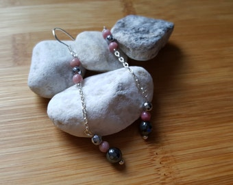 Collection Harmony // Rhodonite, Hematites and Silver 925 Earrings // Natural semi-precious stones