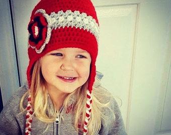Girl crochet hat, red girls crochet hat, football handmade hat with braids, girls winter hat, handmade flower hat, crochet toddler hat