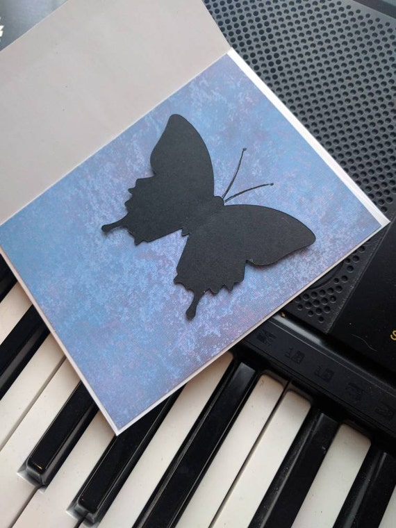 Butterfly Silhouette on Brushed Blue Blank Card