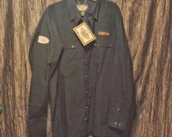 Vintage Harley Davidson MotorClothes long sleeve black dress shirt, size XL, Free shipping