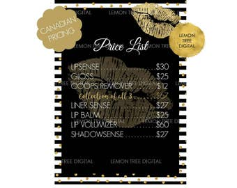 INSTANT DOWNLOAD - Lipsense price list, lipsense printables, SeneGence, black white gold, lipsense lips, canadian pricing, lipsense canada