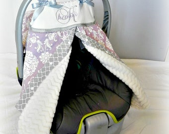 Monogrammed Damask Carseat Tent/Cover