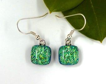 Bright green splinter dichroic glass earrings