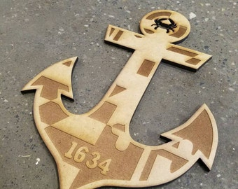 Nautical Anchor - Maryland Flag
