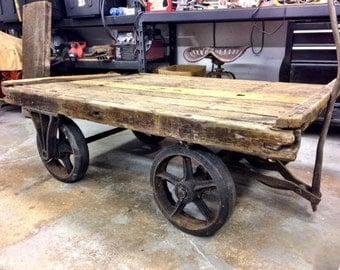 Vintage Large Industrial Factory Cart