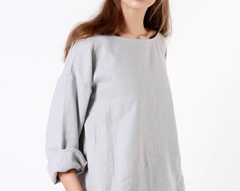 Grey Linen Top, Linen Blouse with long sleeves, Loose Linen Blouse, Custom Color, Casual Linen Blouse, Loose Linen Top, Natural Linen Blouse