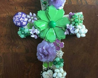 Spring bright colors purple and green jeweled cross