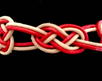Bracelet in leather ropes - 3 knots - natural leather and red
