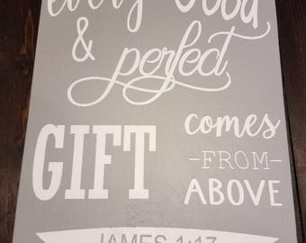 James 1:17 wooden sign