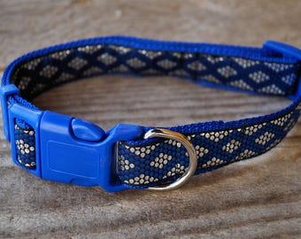 Floral adjustable dog collar blue/silver