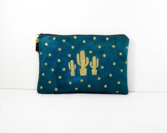 Pouch makeup suede green polka-dot cactus