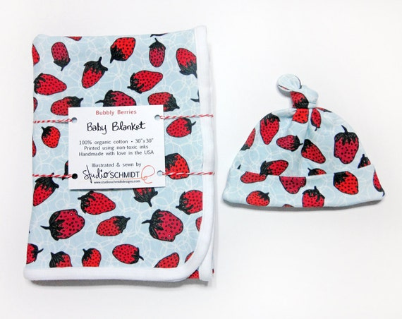 """""""Bubbly Berries"""" Organic Cotton New Baby Gift Set - Includes 1 Top Knot Baby Hat (0-3M size) & 1 Coordinating Receiving Blanket!"""