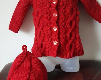 Gorgeous baby beret and coat 0-6 months