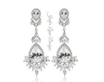 Art Deco, Long Bridal Earrings, Crystal Chandelier, Bridal Drop Earrings, Wedding Jewelry,Bridal Leaf Earrings, Vintage Wedding, Bridal Gown