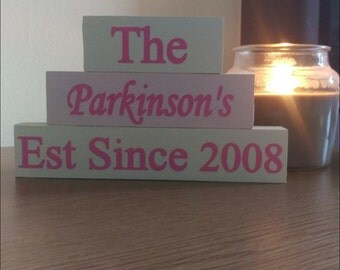 Lovely freestanding family name blocks fully personalised to suit you
