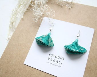 Indian earrings handmade : ethnic jewelry with silver and green indian fabrics // zero waste jewelry