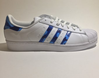 White Blue Little Cost Adidas Superstar 20 Gs Shoes
