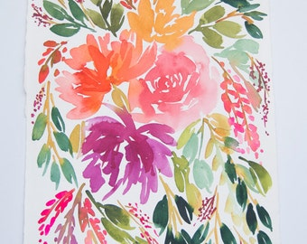 "Floral Bouquet Original Watercolor Painting 8.5""x11"""