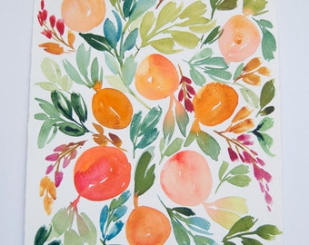"Atlanta Peaches Original Watercolor Painting 8.5""x11"""