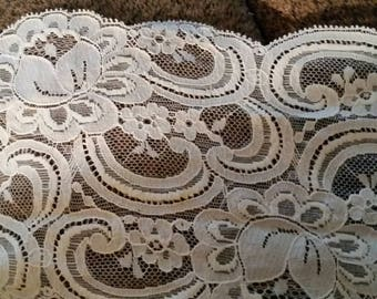 Vintage old new white lace.  5 inches wide. 6 yard piece