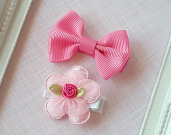 Baby Clip - Infant Toddler Clip -  Baby Clips Set of 2 - Pink Bow - Pink Flower