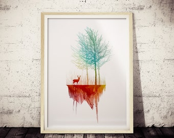 Minimalist Nature Print, Green and Red Watercolor Print, Nature Print, Modern Apartment Wall Art Print, Geometric Art, Minimal Deer Decor