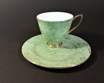 English Royal Albert Bone China Gossamer Pattern Green White Gold Cup Saucer Plate Set Fine Dining China Bridal Ladies Luncheon