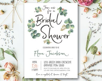Greenery bridal shower invitation, eucalyptus bridal shower invitation, natural, greenery, white, garden, boho, vintage, rustic (Flora)