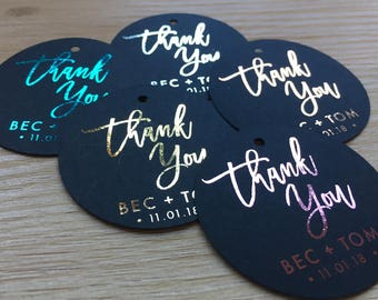 FOILED Personalised | Personalized Black Circle Tags | Gift Tag | Hang Tag | Swing Tags | Metallic | Gold | Rose Gold | Silver | Pink | Teal