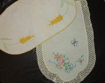 FREE SHIPPING USA Vintage Doilies, Cotton, Hand Embroidery, trim     622
