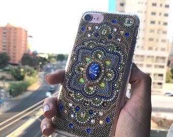 Iphone 7 plus case blue phone case crystal phone case iPhone 6/6+ case phone cases samsung galaxy s7 case galaxy 6 handmade luxury phone
