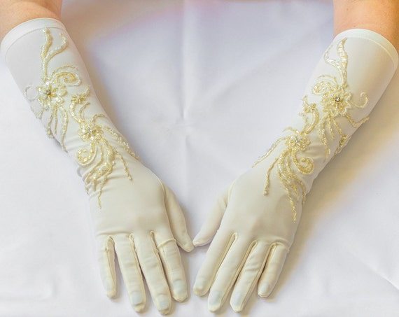 Ivory gloves, bridal gloves, elbow gloves, long gloves 13
