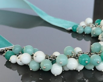 Amazonite necklace on a velvet Ribbon in a beautiful Turquoise color.