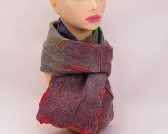 wet felted nuno scarf, rainbow in spiral pattern, merino wool ans chiffon silk scarve