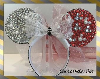 Hidden Mickey Valentine Disney Christmas Ear Rhinestone Pearl Bedazzled Bling Disney Rhinestone Christmas Wedding Mickey Minnie Mouse Ears