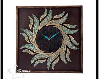 Handmade wall decorative clock - wall clock vintage, wall clock wood, wall clock modern, wall clock large, wall clock rustic
